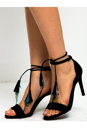 Mecrea Bia Siyah Süet Tüylü Topuklu Sandalet