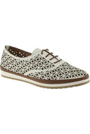 Cute 5102 Bağcıklı Hakiki Deri Beyaz Kadın Ayakkabı