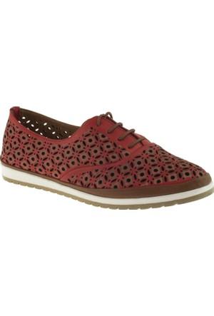 Cute 5102 Bağcıklı Hakiki Deri Kırmızı Kadın Ayakkabı