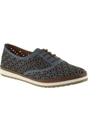 Cute 5102 Bağcıklı Hakiki Deri Mavi Kadın Ayakkabı