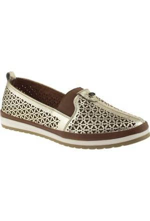 Cute 5103 Lastikli Hakiki Deri Altın Kadın Ayakkabı