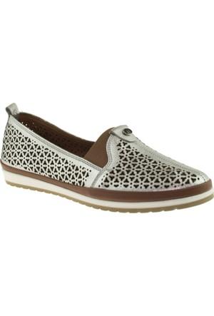 Cute 5103 Lastikli Hakiki Deri Gümüş Kadın Ayakkabı