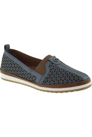 Cute 5103 Lastikli Hakiki Deri Mavi Kadın Ayakkabı