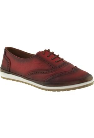 Cute 5105 Bağcıklı Hakiki Deri Kırmızı Kadın Ayakkabı