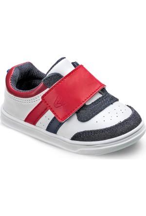Vicco İlkadım Deri Patik Ayakkabı Beyaz-Lacivert