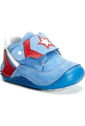 Vicco Yıldızlı Cırtlı İlk Adım Deri Ayakkabı Mavi