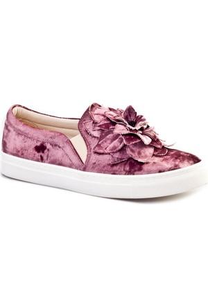 Cabani Çiçek Kabartmalı Sneaker Günlük Kadın Ayakkabı Kadife