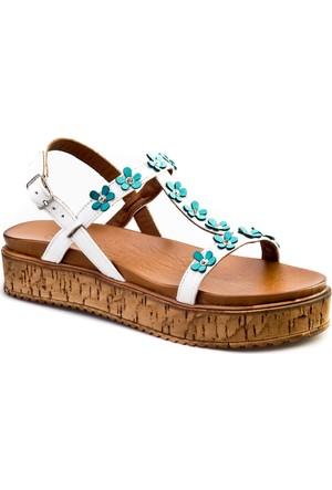 Cabani Çiçekli Tokalı Günlük Kadın Sandalet