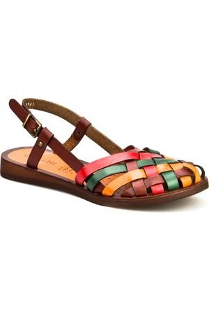 Cabani Örgülü Tokalı Günlük Kadın Sandalet