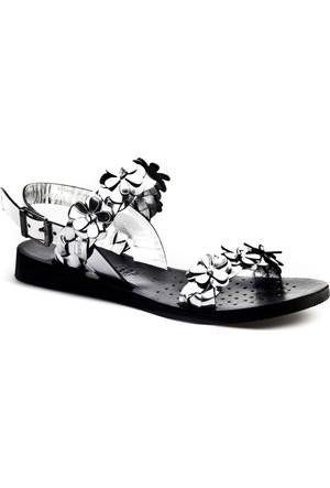 Cabani Çiçekli Günlük Kadın Sandalet Gümüş