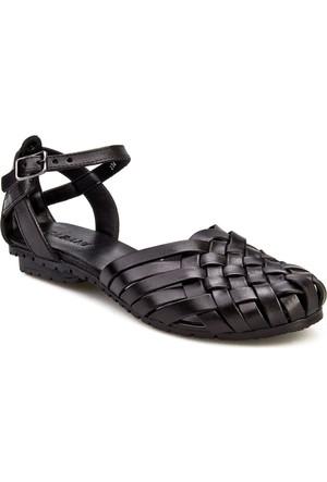 Cabani Örgülü Günlük Kadın Sandalet Siyah Deri