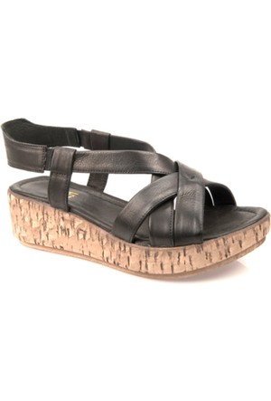 Ziya Kadın Hakiki Deri Sandalet 7131 5019 Siyah