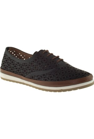 Cute 5102 Bağcıklı Hakiki Deri Siyah Bayan Ayakkabı