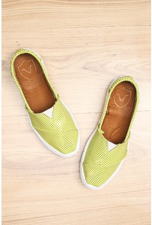 Limited Edition Yeşil Bayan Hakiki Deri Ayakkabı