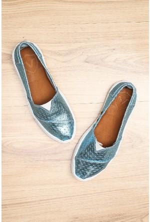 Limited Edition Mavi Bayan Hakiki Deri Ayakkabı