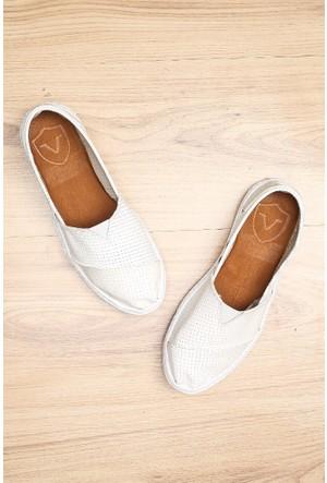 Limited Edition Beyaz Bayan Hakiki Deri Ayakkabı