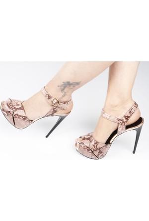Veyis Usta Kahverengi Yılan Derisi Desenli Bayan Ayakkabı