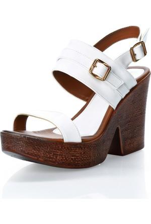 Puka Home 4145R1 Dolgu Taban Beyaz Ayakkabı