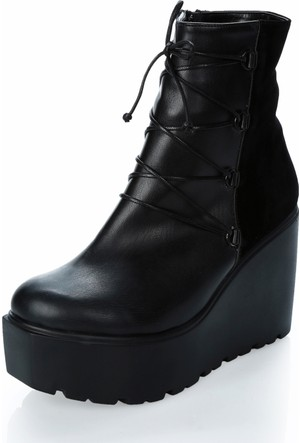 Tibu Ya71B Siyah Cilt Siyah Suet Ayakkabı