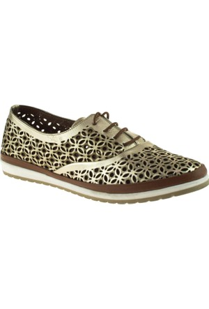 Cute 5102 Bağcıklı Hakiki Deri Altın Kadın Ayakkabı