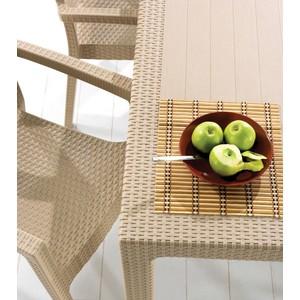 novussi rattan camsız masa sandalye takımı 6 sandalyeli 90 x 150 cm
