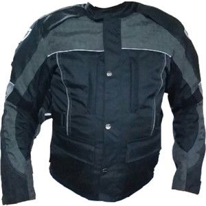 dot cycle su ve rüzgar geçirmez cepli full korumalı siyah gri kısa motosiklet montu - xl - siyah - gri