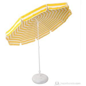ünvanli sarı beyaz 220 cm 10 telli bahçe plaj şemsiye bidon hediyeli