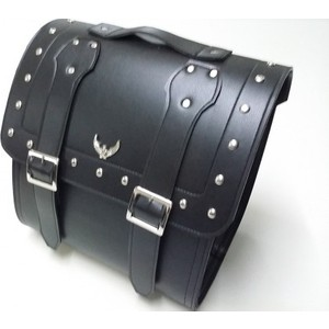dot cycle sert plastik destekli siyah deri arka kampet motosiklet çantası