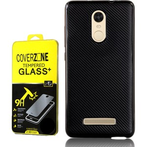 coverzone xiaomi redmi note 3 kılıf karbon silikon kırılmaz cam 3d araç kokusu - siyah