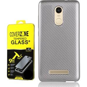 coverzone xiaomi redmi note 3 kılıf karbon silikon kırılmaz cam 3d araç kokusu - gümüş