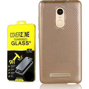 coverzone xiaomi redmi note 3 kılıf karbon silikon kırılmaz cam 3d araç kokusu - gold