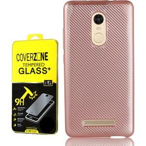 coverzone xiaomi redmi note 3 kılıf karbon silikon kırılmaz cam 3d araç kokusu - rose gold