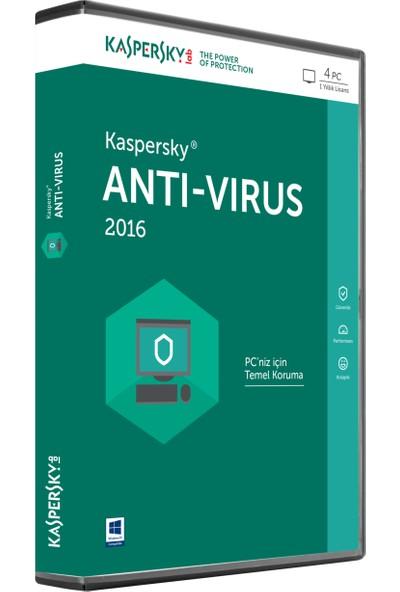 Kaspersky Antivirüs 2016 4 Kullanıcı 1Yıl DVD