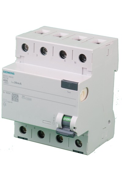 Siemens 5Sv4344-0 40A 30Ma 400V (3 Faz + Nötr) Kaçak Akım Koruma Rölesi