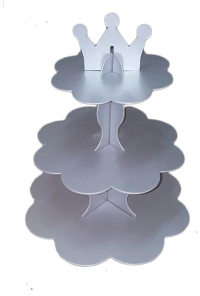 Tahtakale Toptancısı Karton Cupcake Standı 3 Katlı Kral Taçlı Kek Standı