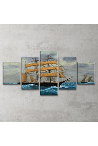 Plustablo Yağlı Boya Yelkenli 5 Parça Kanvas Tablo