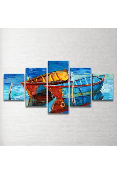 Plustablo Tekneler 5 Parça Kanvas Tablo