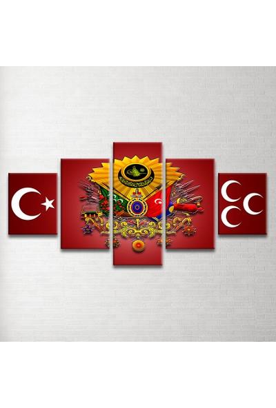 Plustablo Osmanlı Arması Özel Tasarım 5 Parça Kanvas Tablo