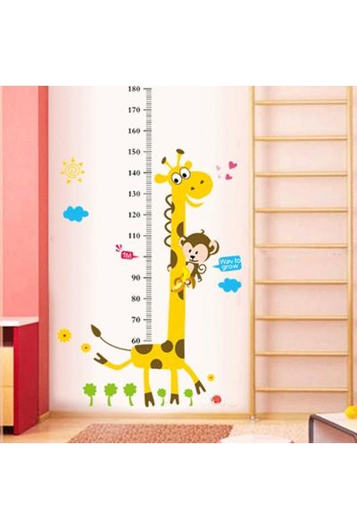Farm Zoo Boy Ölçer Karikatür Duvar Stickerı Grafiti Zürafa ve Sevimli Maymun Cetvel