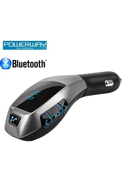 Powerway Araç Şarj Aleti+Bluetooth Fm Transmitter+Micro SD Kart Girişi+Aux+Eller Serbest Konuşma