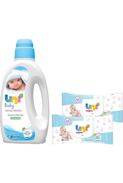 Uni Baby Bebek Deterjanı-Uni Wipes 64 Yaprak 2Li Set