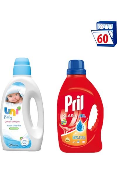 Uni Baby Bebek Deterjanı-Pril Jel Soda Etkili Sirke Parlaklığı 1500Ml