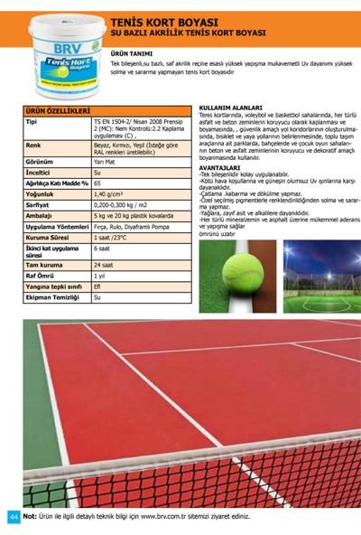 Brv Tenis Kort Boyası - Akrilik Tenis Kort Boyası 20Kg