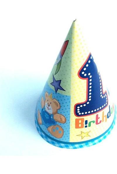 Partypark 1 Yaş Erkek Doğum Günü Parti Şapkası (8 Ad)