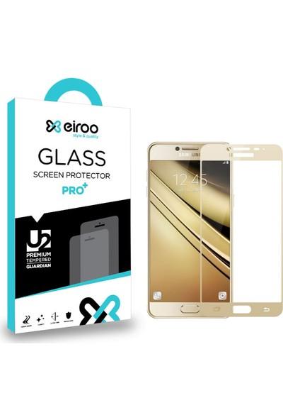 Eiroo Samsung Galaxy C9 Pro Curve Tempered Glass Full Cam Ekran Koruyucu