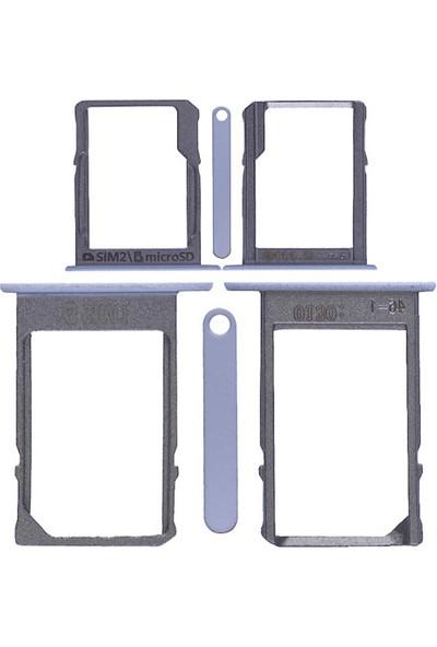 Casecrown Samsung Galaxy A3 A5 A7 Sim Hafıza Kapağı Set - Beyaz