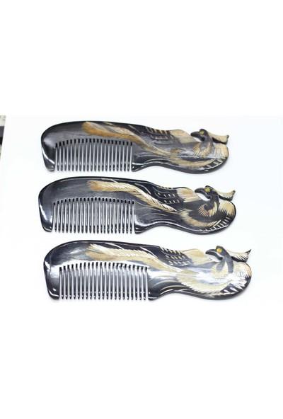 Akpınar Kemik Tarak Boynuz Anka Kuşlu El İşlemeli Tarak
