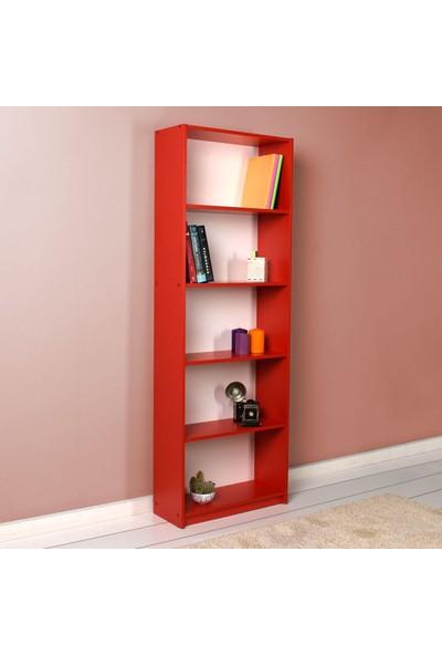 Adore Modern 5 Raflı Kitaplık - Kırmızı