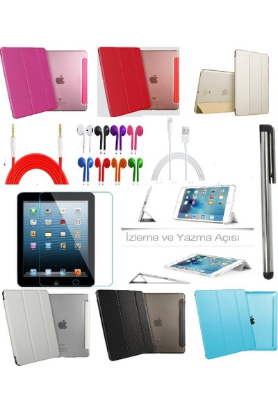"Fujimax ipad Pro 12.9"" 1. 2.Nesil A1584 A1652 A1670 A1671 A1821 Smart Case Tablet Kılıf + 9H Kırılmaz Cam + Kalem + Aux Kablo + Kulaklık + Şarj Kablosu"