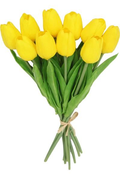 Yapay Çiçek Deposu Yapay 10Lu Islak Lale Buketi Gerçek Doku Sarı